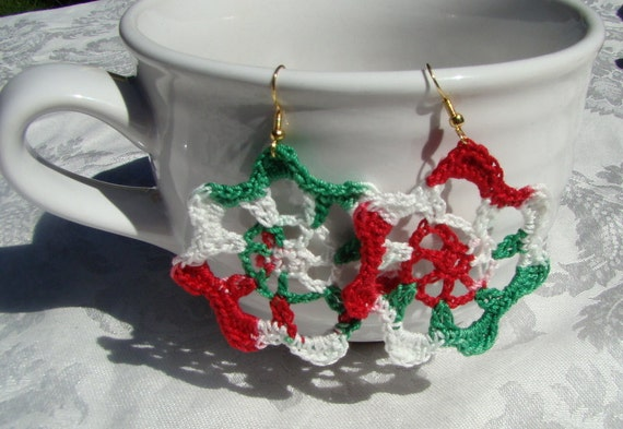 Handmade crocheted Christmas earrings