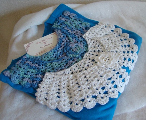 Crochet collar, Peter Pan Collar, lace neckpiece, blue and white crochet collar, crochet necklace, handmade cotton necklace