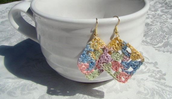 Not Your Grandmothers Granny Square crochet earrings, bohemian crochet earrings, crochet lace earrings, boho earrings, bohemian jewelry