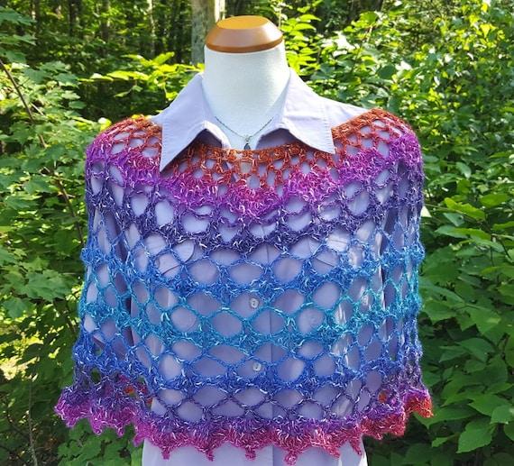 Unicorn poncho, 70s inspired poncho, fairy caplet, boho chic crochet poncho, bohemian poncho, rainbow caplet