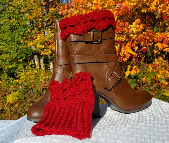 Crochet boot cuffs, crimson red ankle warmers, handmade boot warmers,