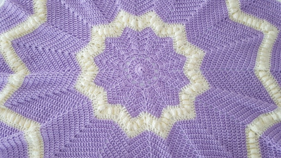 Lilac crochet star baby blanket, baby afghan, newborn baby shower gift, baby blanket, receiving blanket, stroller blanket, READY TO SHIP