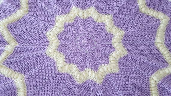 Hand crocheted lavender and cream star baby blanket, baby afghan, newborn baby shower gift