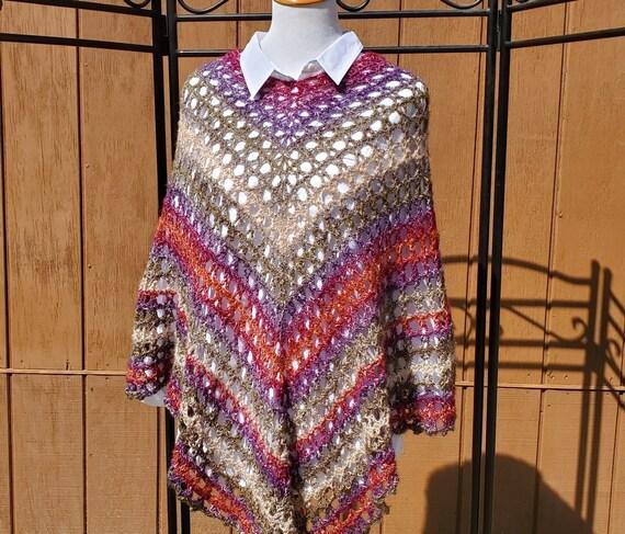 Fall fashion poncho, beach coverup, bridesmaid poncho, country wedding accessories, boho style 70s poncho, READY TO SHIP
