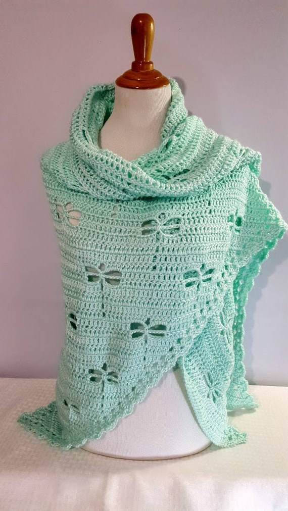 Dragonfly crochet shawl, Mothersday shawl, bridal party accessory, Outlander inspired shawl, wedding attire, bridesmaids wrap, Ready to Ship