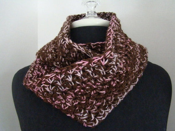 Pink and brown hand crocheted cowl neck infinity scarf