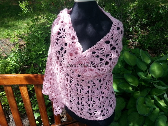 Pink crochet shawl, breast care awareness shawl, handmade crochet shawl, pink shawl, crochet shawl wrap, pink crochet wrap