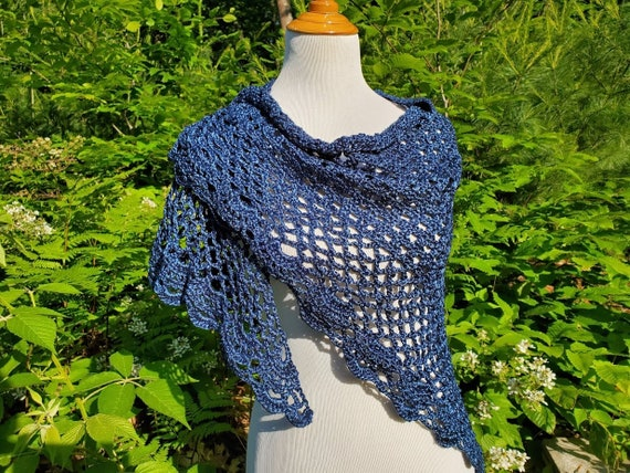 Prom dress shawl, crochet shawl, openwork lace shawl, Victorian lace shawl, bridesmaids wrap, beach summer wedding, metallic blue shawl