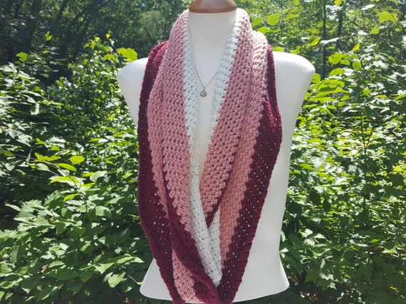 Infinty scarf, crochet scarf wrap, multi-color scarf, fall fashion scarf, back-to-school wrap, neck jewelry,
