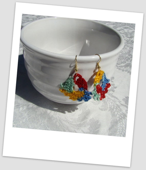 Primary colors bold crocheted fan earrings