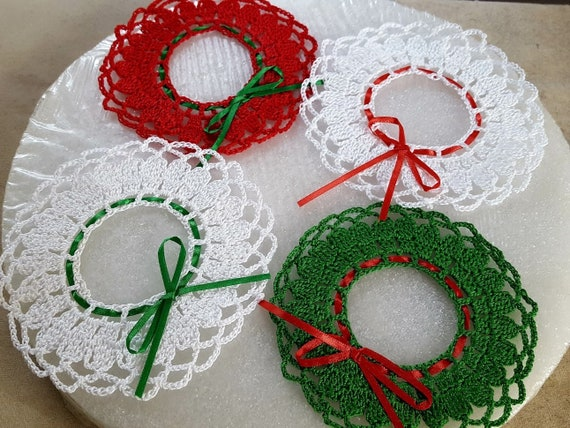Christmas wreath ornament, holiday gift tags, mini handmade wreath, handmade Christmas wreath, crochet wreath ornament, crochet gift tag