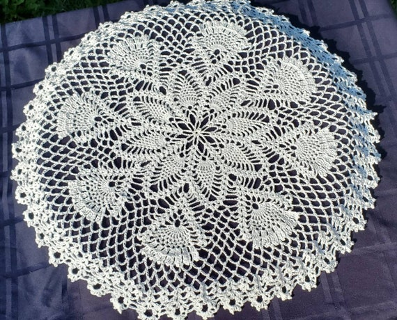 Scottish thistle table topper, unique dining room decor, tabletop centerpiece, Outlander inspired decor, white handmade table doily, RTS