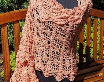 Hand crocheted custom designed spiderweb cotton shawl wrap