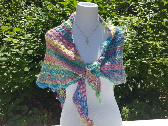 Easter shawl, crochet lace shawlette, rainbow shawl, Mothers Day caplet, bridesmaids shawl, beach cover up, country wedding shawl