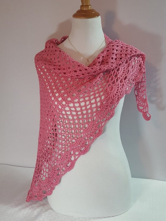 Summer pink wedding shawl, prom dress wrap, bridal shawl, crochet shawl, openwork lace shawl, Victorian lace shawl, Ready to Ship