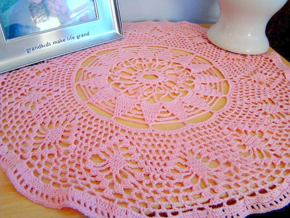 Crochet doily, dresser decor, guest room decor, entryway doily, lace crochet doily, pink crochet doily