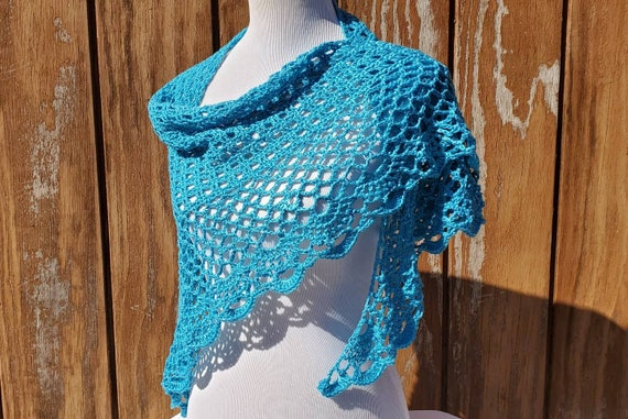 Peacock Blue wedding shawl, Crochet shawl, openwork lace shawl, Victorian lace shawl, Bridesmaids wrap, beach summer wedding accessory