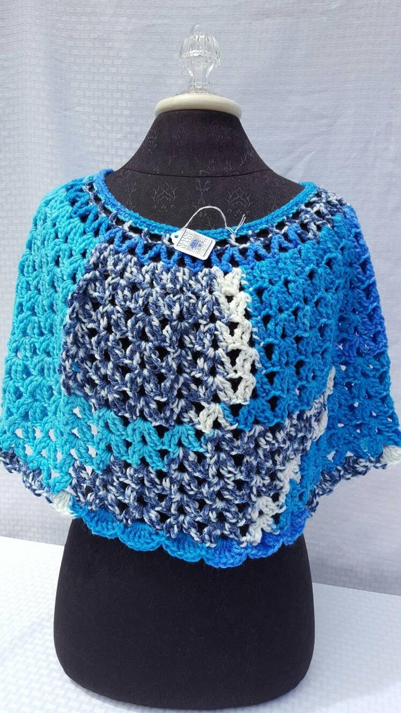 Crochet caplet handmade poncho ladies apparel gift for her image 0