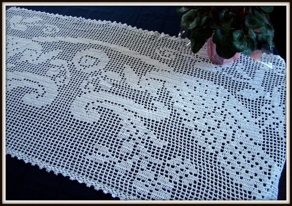 OOAK white table runner, crochet tablecloth, dining room table runner, wedding tablecloth, housewarming white table runner