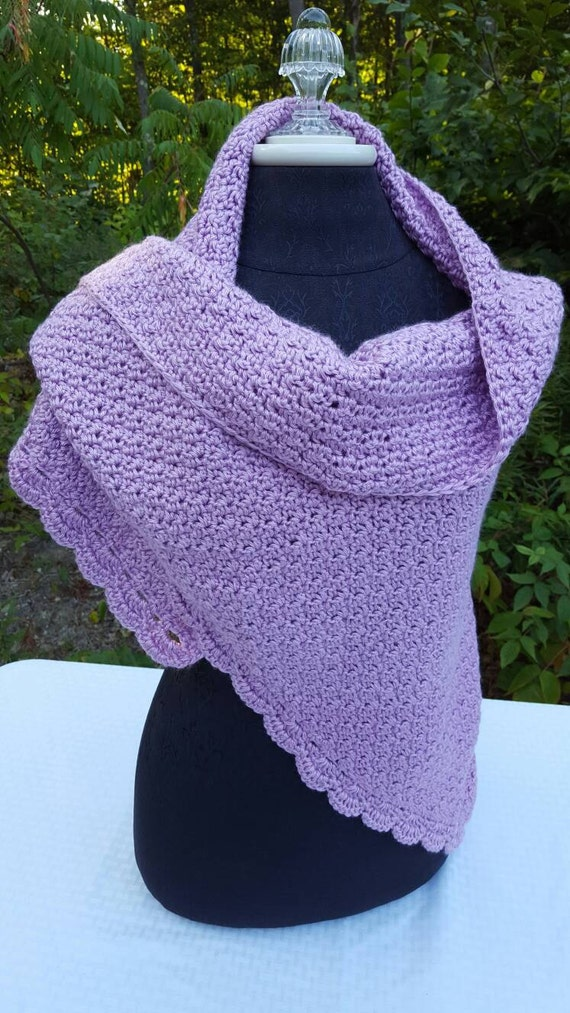 Lavender lilac hand crocheted shawl with moss stitching and scallop edging - READY TO SHIP