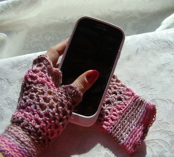 Crocheted delicate fingerless ladies texting gloves in pink and brown