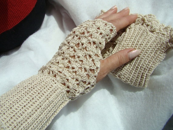 Crocheted lightweight lace fingerless gloves