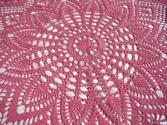 Crochet tablecloth, round tablecloth, handmade dining room table runner, pink tablecloth, crochet doily tablecloth, READY TO SHIP