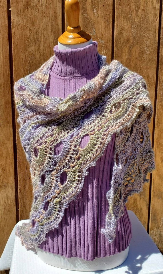 Wedding shawl, crochet lace shawlette, pastel shawl, Mothers Day caplet, bridesmaids shawl, country wedding shawl, prom dress shawl wrap
