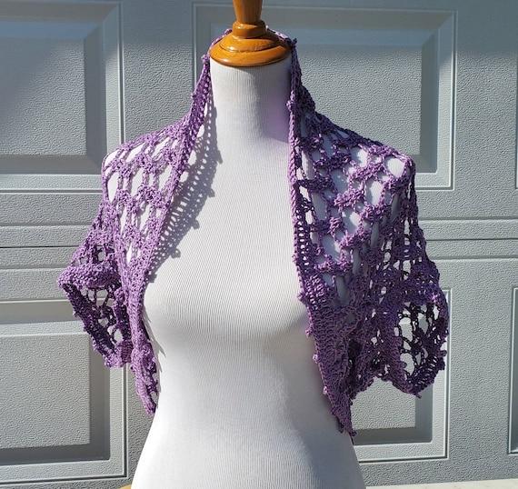 Open lace crochet shrug, crochet wedding shawl, boho chic crochet shrug, openwork lace crochet shawl, crochet caplet, unique crochet shawl