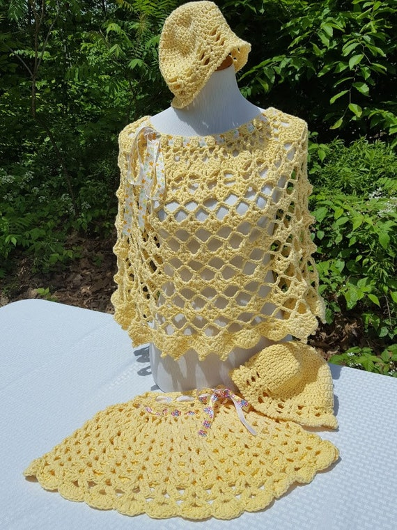 Yellow poncho, crochet poncho, mother daughter set, boho chic poncho, bohemain poncho set, Mothers Day gift