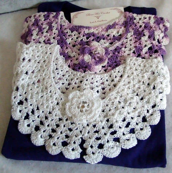 White and shades of Purple crocheted collars and Tshirt