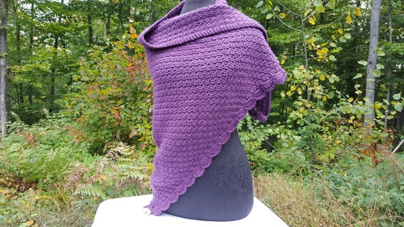Purple crochet shawl, mothers day gift, womens accessories, warm winter wrap, fall shawl wrap, prayer shawl, handmade crochet shawl,