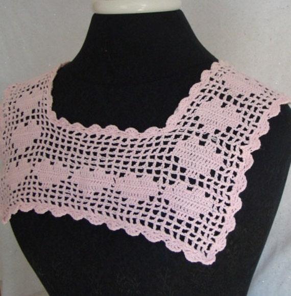 Crochet collar, square Victorian collar, Valentine heart crochet collar, handmade crochet collar, pink crochet collar, crochet lace, RTS