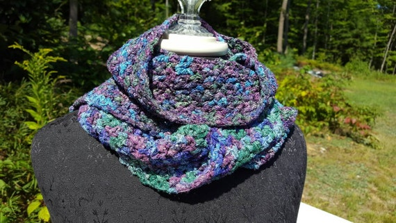 Satin ribbon crocheted scarf, multi-colored wrap, statement necklace, fancy ribbon scarf