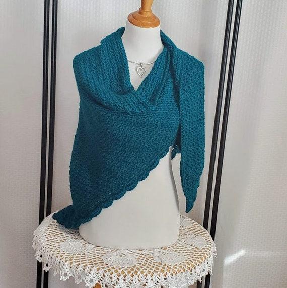 Teal green crochet shawl, mothers day gift, women's accessories, warm winter wrap, fall shawl wrap, prayer shawl, handmade crochet shawl