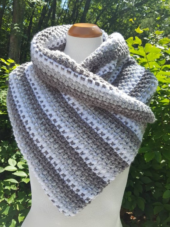 Shades of gray scarf cowl, crochet neckwarmer, chunky scarf, winter warm accessory