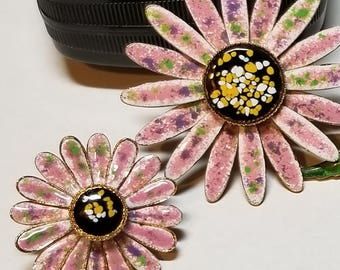 Brooch & Clip on Earrings Set Daisy Shapes Delicate Petals Handpainted Pink Purple Green Center Circle of Black Yellow White Stunning Look!