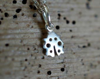 """Tiny Ladybug Sterling silver Pendant Necklace from the """"Petite Ménagerie"""" collection by Camille Grenon - Cute personalized jewel"""