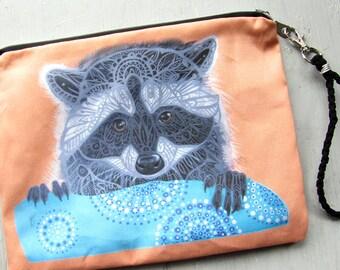Raccoon Clutch Bag, Trash Panda, Large Wristlet, Purse