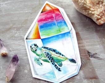 Sea Turtle Sticker Crystal - Waterproof Decal - Aura Crystal