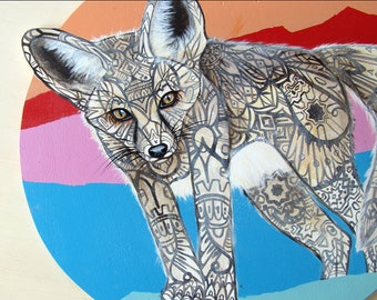 Fennec Fox Tangle Original Painting