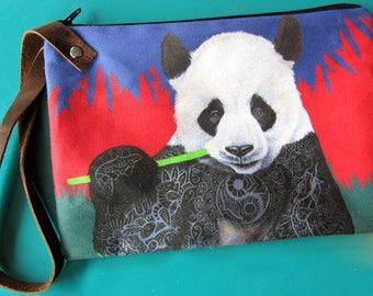Panda Wristlet Zipper Bag - Handmade