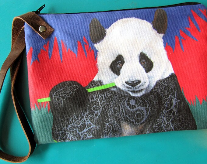 Featured listing image: Panda Wristlet Zipper Bag - Handmade