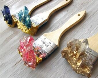 Crystal Paintbrush Hanger Hooks Resin Art Sculpture Quartz