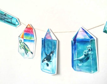 Aura Crystal Animals Printable Paper Garland - Crystal Orca - Polar Bear - Sea Turtle - Shark