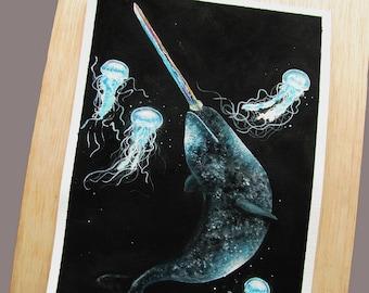 So Below -  Narwhal Surrealism Watercolor Art Print