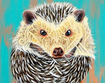 Hedgehog Painting Art Print - Zentangle Style