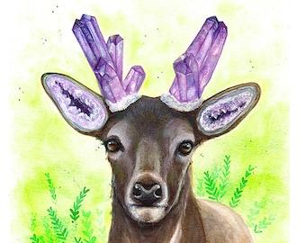 Amethystos - Surreal Deer Watercolor Painting Print Amethyst Art