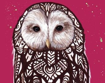 Ural Owl Tangle Art Print 5 x 7