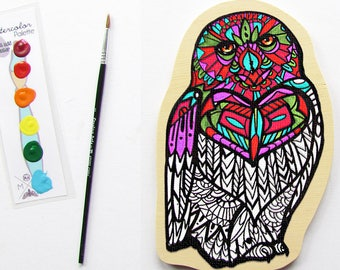 Owl Diy Painting Art Kit- Snowy Owl Coloring Book